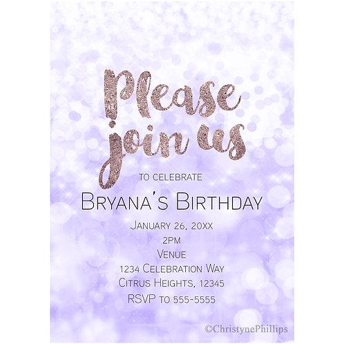 Purple Bokeh Sparkle Lights Glam Party Invitations