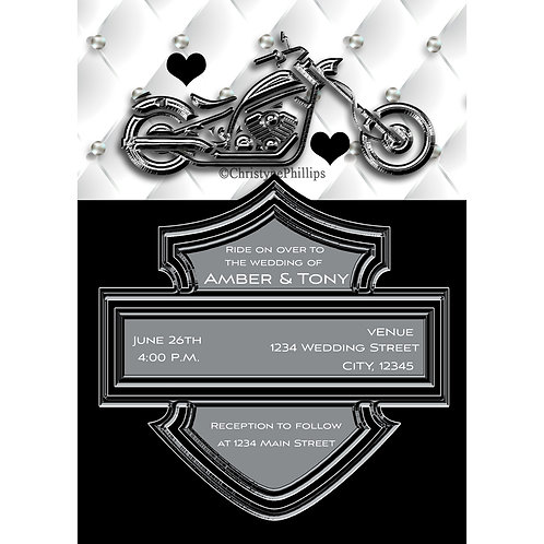 Biker Motorcycle Chrome Bike Leather Engagement Invitations