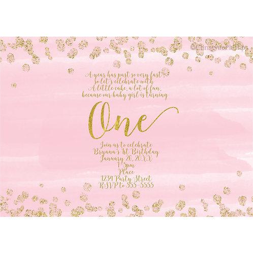 Blush Pink & Gold Confetti ONE Girls 1st Birthday Party Invitations