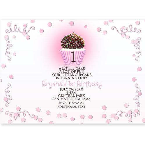 Sweet Cupcake Confetti and Swirls Birthday Party Invitations