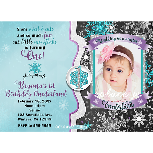 Winter Onederland Snowflakes Teal Purple Birthday Party Photo Invitations
