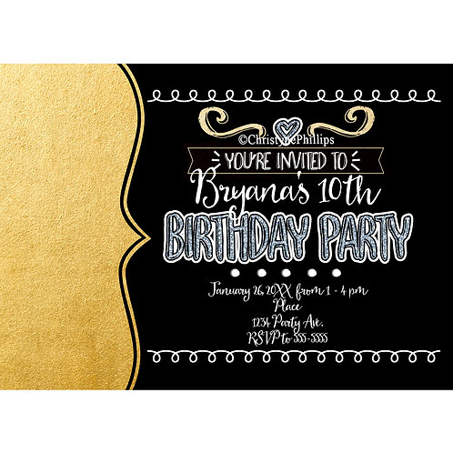 Gold Faux Foil and Black Girls Whimsical Cool Party Invitations