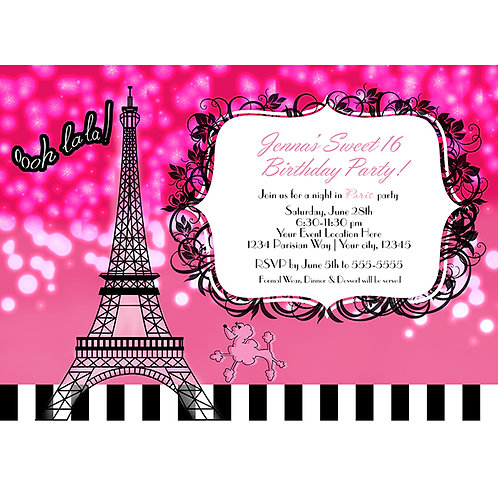 Hot Pink Paris Eiffel Tower Sparkle and Poodle Party Invitations
