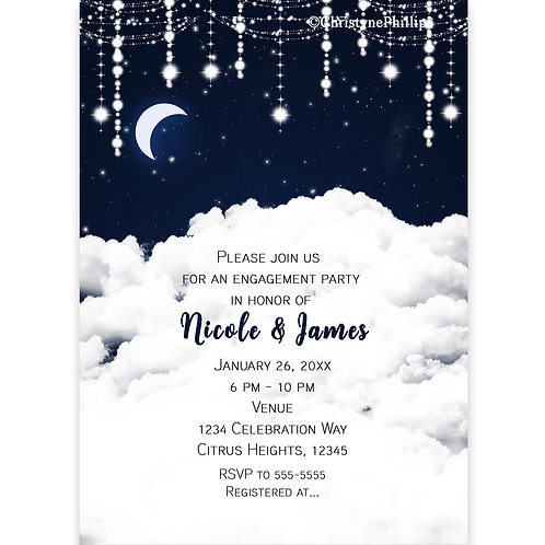 Dreamy Clouds Celestial Sky Elegant Enchanted Party Invitations