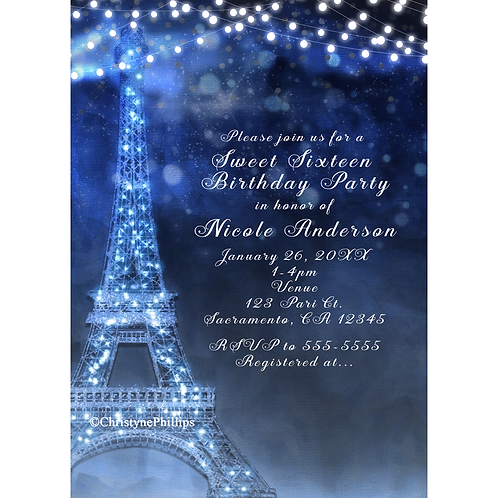 Blue Night in Paris Enchanted Eiffel Tower Lights Birthday Party Invitations