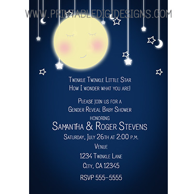 Celestial Moon Hanging Twinkle Stars Baby Shower Invitations