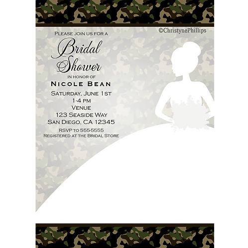 Camouflage Bride White Dress Bridal Shower Wedding Invitations