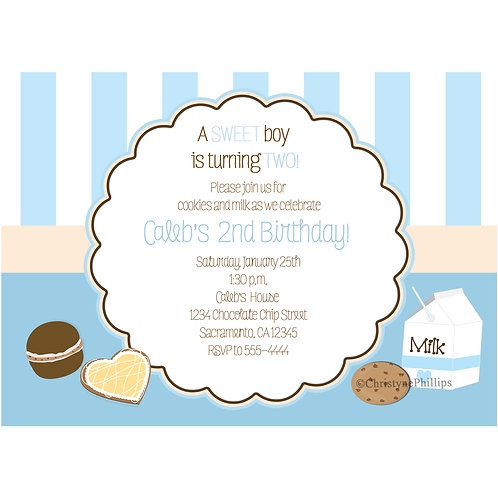 Boys Blue and White Stripes Milk and Cookies Birthday Party Invitations