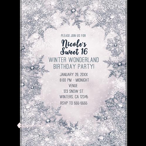 Winter Wonderland Glitter Snowflakes Elegant Blue White Invitati