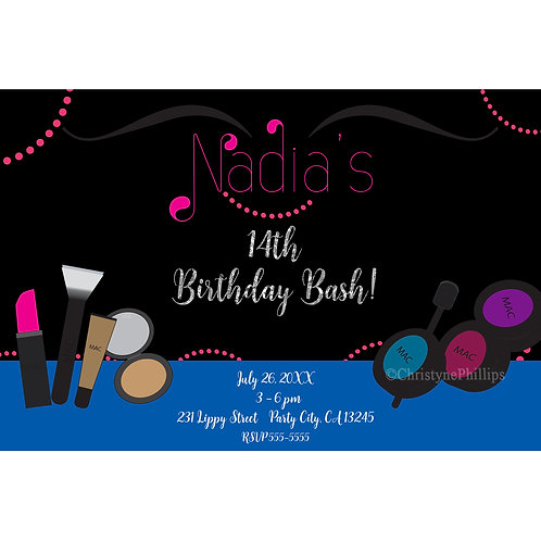 Makeup Beauty Chic Glam Girls Birthday Party Invitations