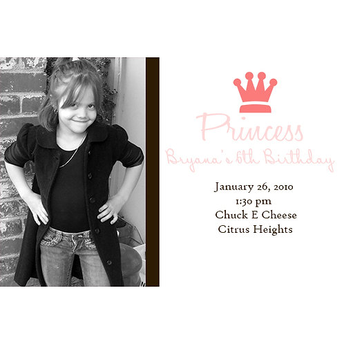 Pink Chic Princess Photo Birthday Party Invitations