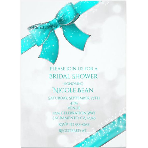 Aqua Turquoise Sparkle Bow Elegant Chic Invitations