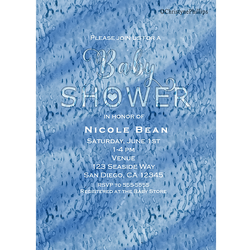 Baby Shower Blue Abstract Rain Drops Modern Watercolor Invitation