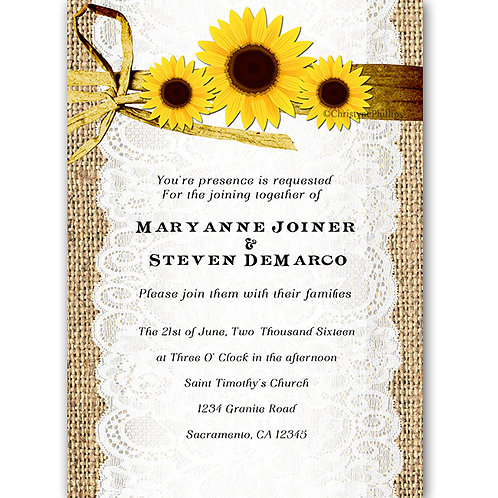 Rustic 3 Sunflowers Burlap and Lace Elegant Invitations