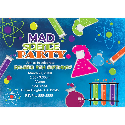 Mad Science Scientist Personalized Party Invitations
