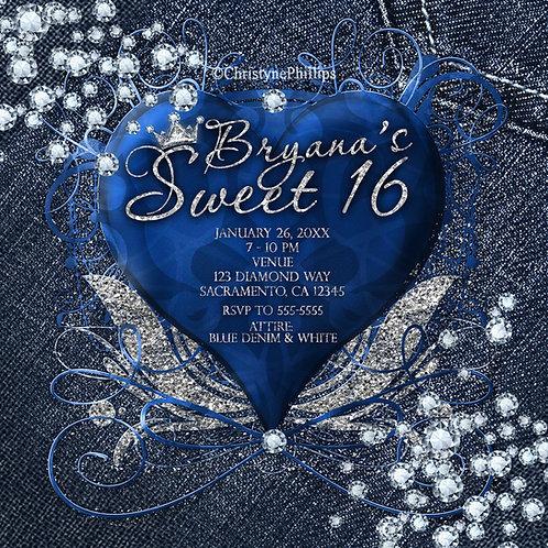Blue Ornamental Heart Denim and Diamonds Glam Crown Birthday Party Invitations