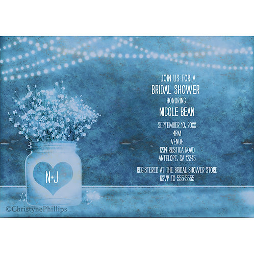 Heart Mason Jar and Baby's Breath Blue Rustic Invitations
