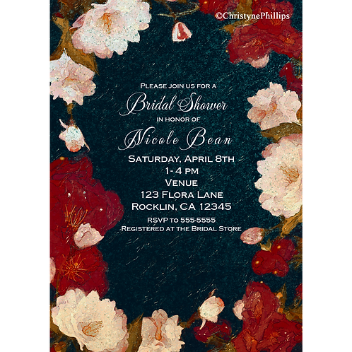 Red & White Flowers Spring Floral Bridal Shower Party Invitations