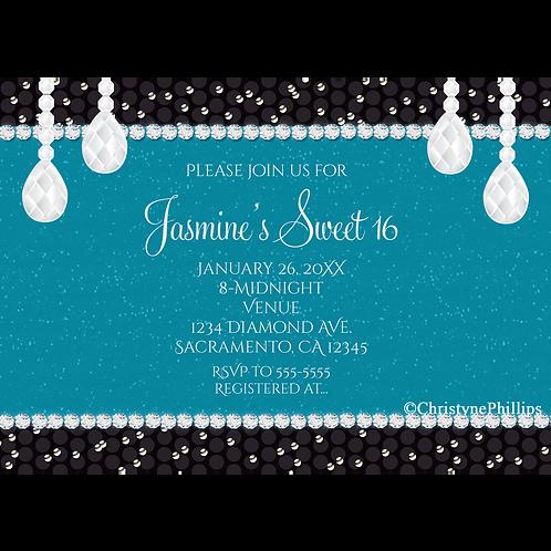Teal & Black Glam Diamonds Sweet 16 Birthday Party Invitations