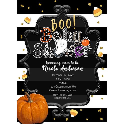 Boo! Gold Black and White Baby Shower Whimsical Halloween Invitations