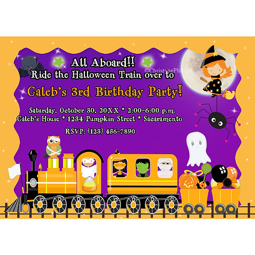 Halloween Train Kids Costume Party Invitations