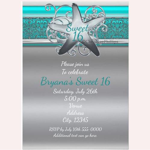 Aqua and Silver Starfish Beach Sweet 16 Invitations