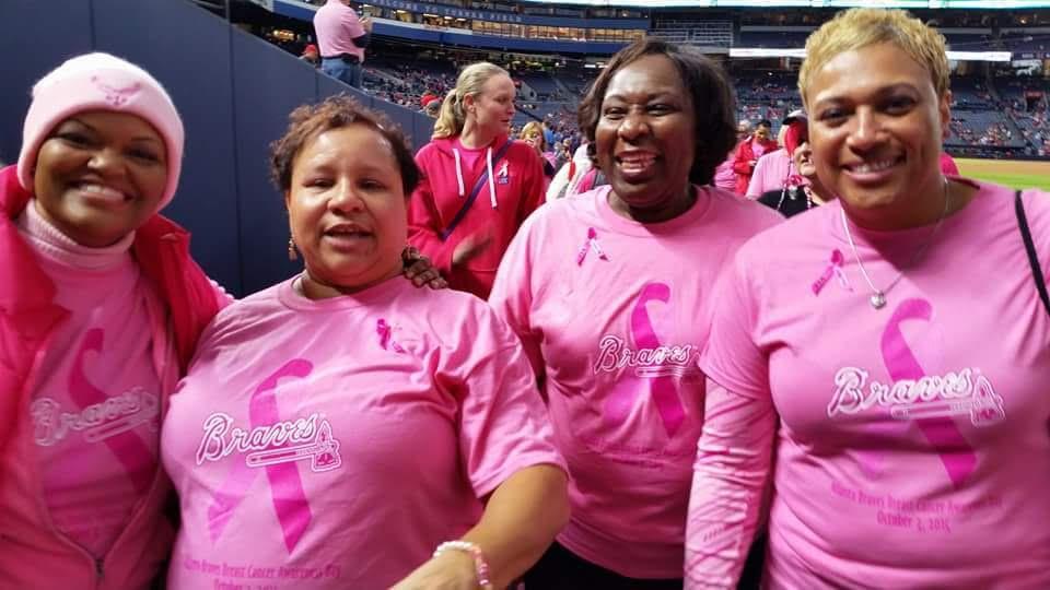 Pink sisters with Atlanta Braves
