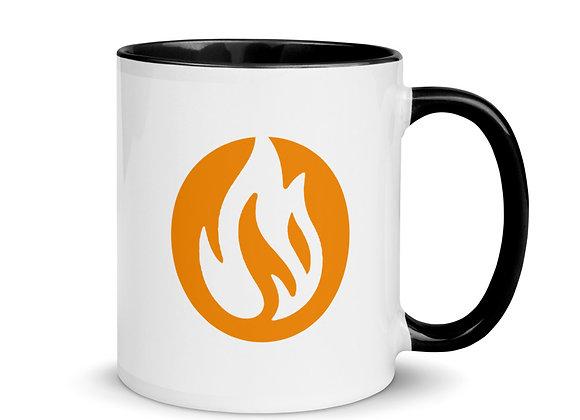 """White Mug with Color Inside -  """"ACTION SPORT LOGO + EMBLEM"""""""
