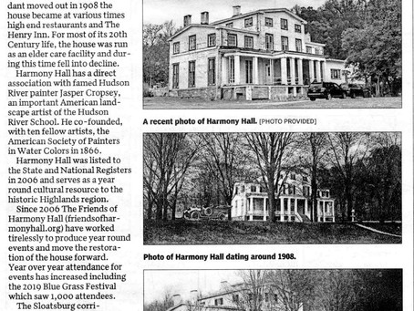 Harmony Hall - Jacob Sloat House featured in the Times Herald Record Now & Then...