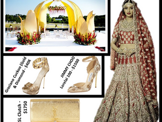 Gold & Red Bridal dress and Gold nontraditional Mandap