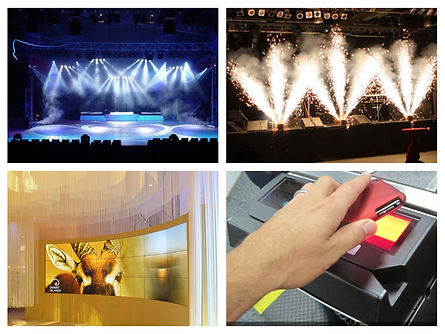 Event Production; Pyrotechniques; Electronic event check-ins; Stage shows; Corporate set-up; Corporate event design; conference design