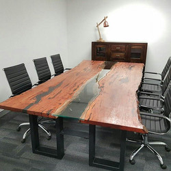 Flooded gum table with glass made by Go