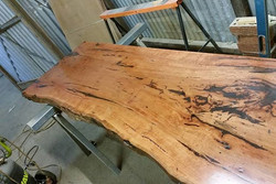 Flooded gum timber slabs with feature