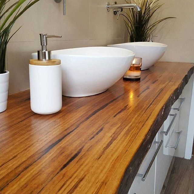 Mountain ash timber slab as vanity. Beautiful
