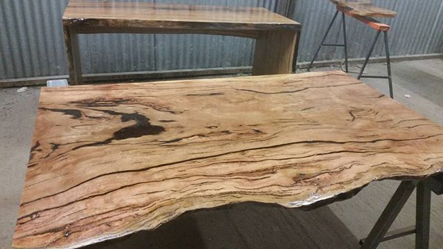 Spotted gum timber bench - custom made