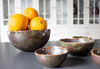 keramiek fruitschaal en ontbijkommen