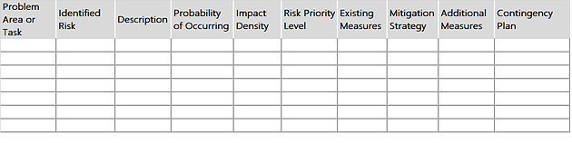 Table 1 Free Construction Risk Assessment Template  Free Risk Assessment Template