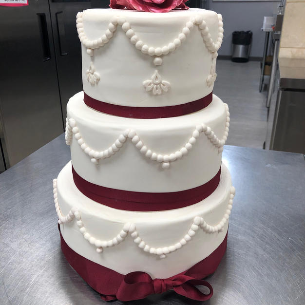Beads and Bows 3 tier Weddig Cake