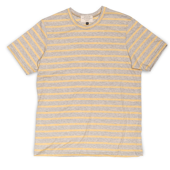 T-Shirt.  Grey with Yellow Stripe Crewneck.
