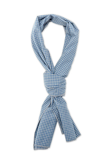 Scarf. Grey and Blue Gingham Check..