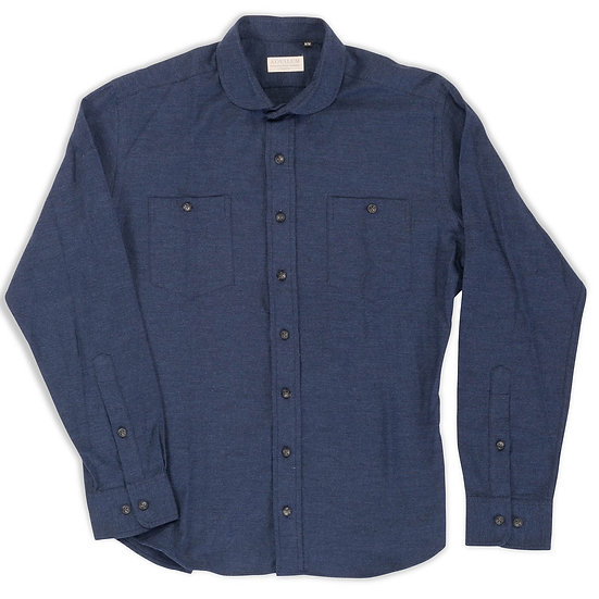 LaSalle. Brushed Cotton in Navy with Club Collar.
