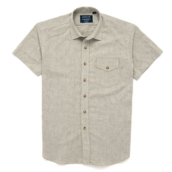 Leland.  Taupe cotton and linen.