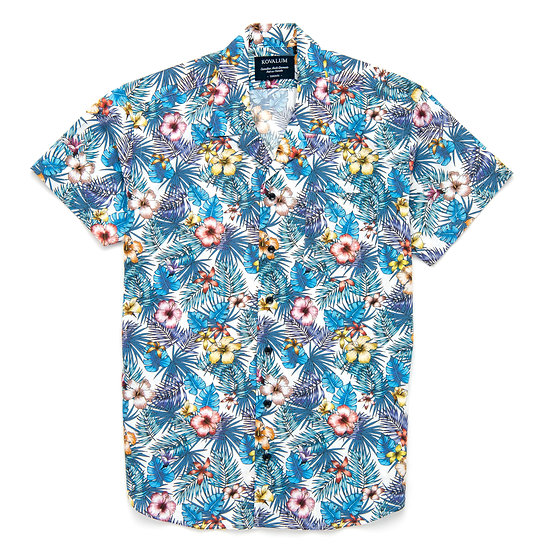 Crew.  Blue Hawaiian Floral.
