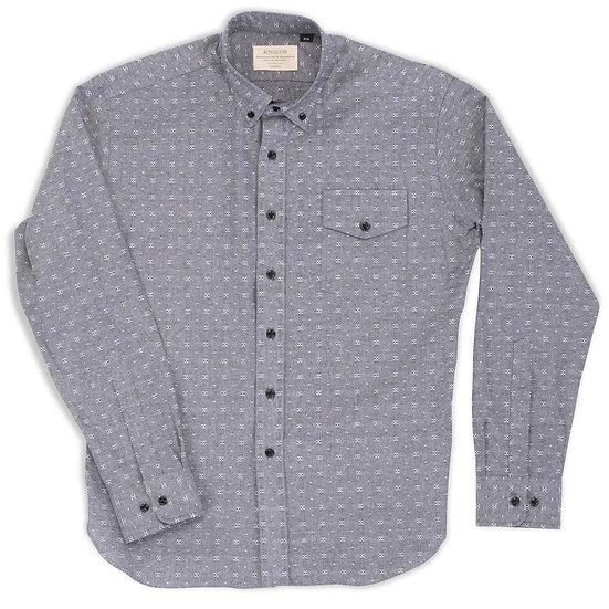 Osborne. Charcoal Chambray Shirt with Dobby Print.