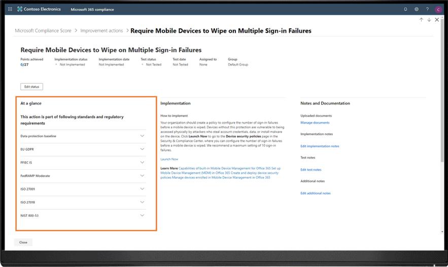 no Microsoft Compliance Score, quando você implementa um controle comum, o status e a evidência do controle serão automaticamente sincronizados com o mesmo controle em outras avaliações, ajudando a reduzir o trabalho duplicado.