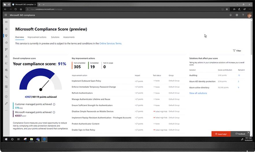 Com o Microsoft Compliance Score, agora você pode avaliar e monitorar continuamente os controles de proteção de dados