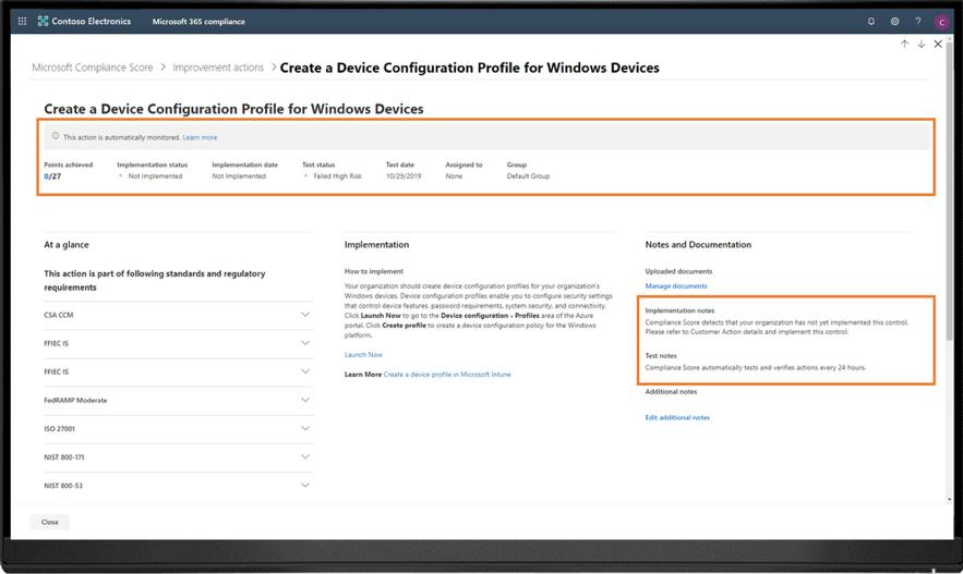 O Microsoft Compliance Score fornece ações de aprimoramento em diferentes áreas, como proteção de informações, controle de informações, gerenciamento de dispositivos e muito mais
