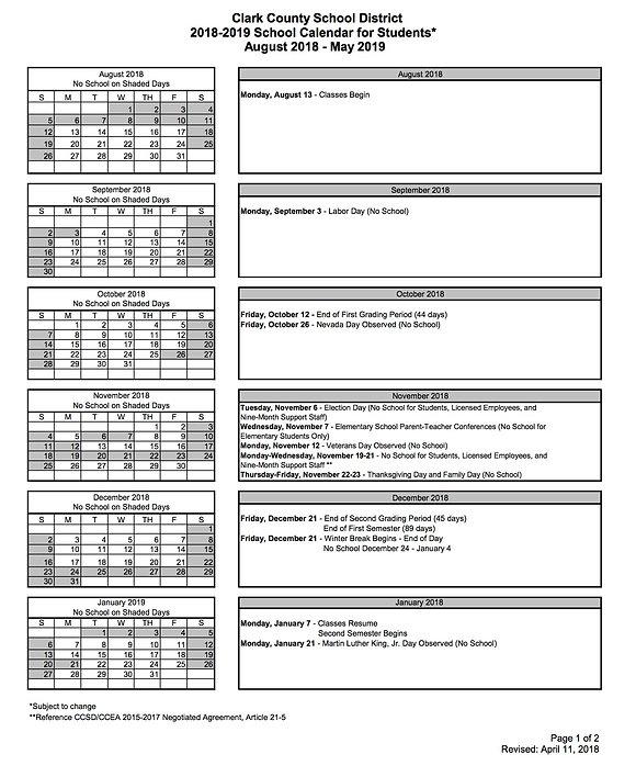 Burkholderms Ccsd Calendar