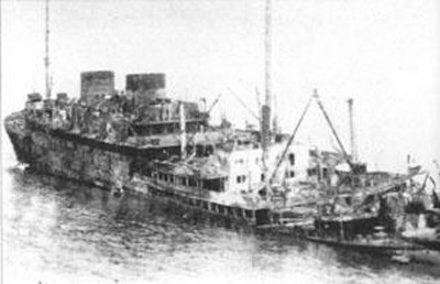 The Georgic after she was bombed.