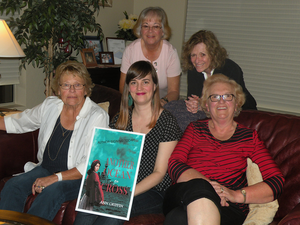 Me (center back) with my beta readers at a pre-launch party.